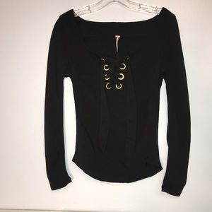 Free people women's medium black lace front top
